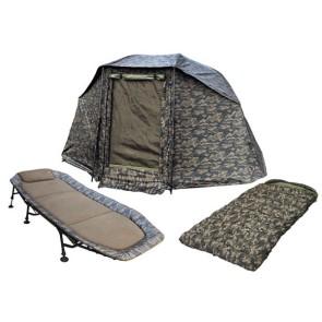 Camo-Set Karpfen-Brolly + Karpfenliege + Schlafsack