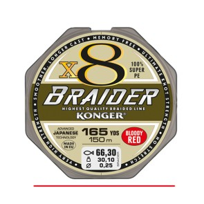 Konger Braider X8 Bloody Red 150m